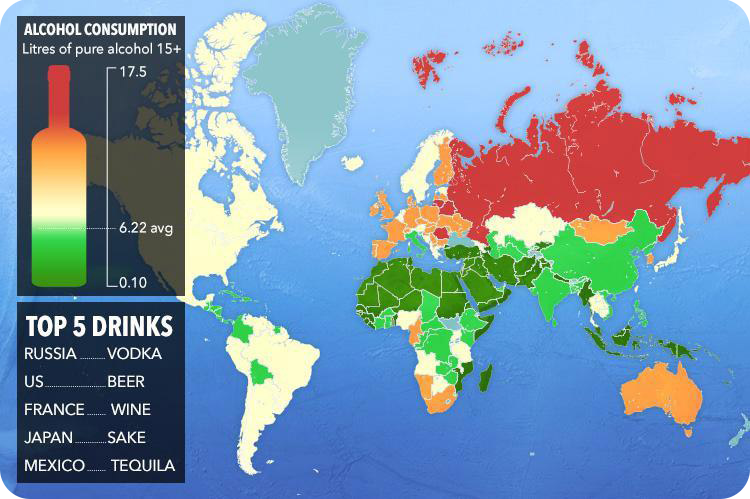 which countries are booziest